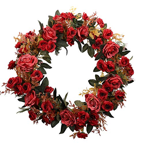 Duovlo Rose Floral Twig Wreath 19 Inch Handmade Artificial Flowers Garland Front Door Wreath (Red)
