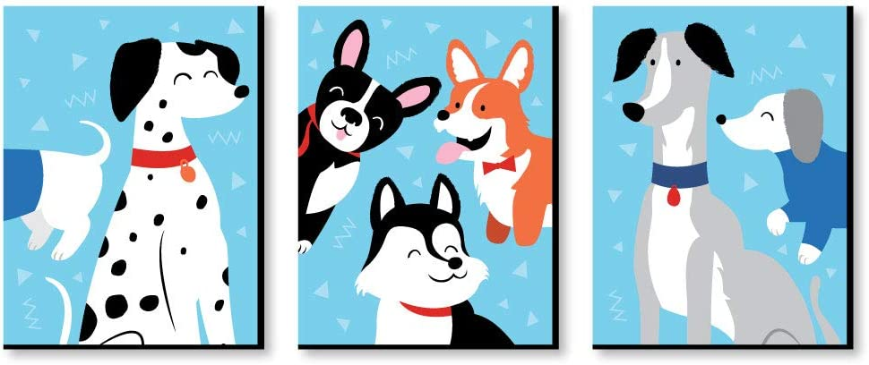 Big Dot of Happiness Pawty Like a Puppy - Dog Nursery Wall Art and Kids Room Decorations - Gift Ideas - 7.5 x 10 inches - Set of 3 Prints