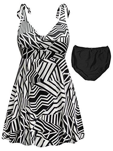 Black & White Geometric 2 Piece Straps Style Plus Size Supersize Swimdress 2x - Style Two Piece