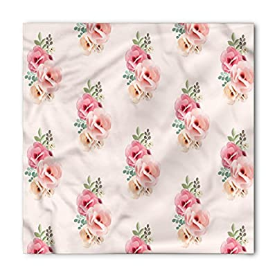 Dusty Rose Bandana by Lunarable, Bridal Bouquet Corsage Pattern Romantic Natural Wedding Themed, Printed Unisex Bandana Head and Neck Tie Scarf Headband, 22 X 22 Inches, Reseda Green Pale Pink