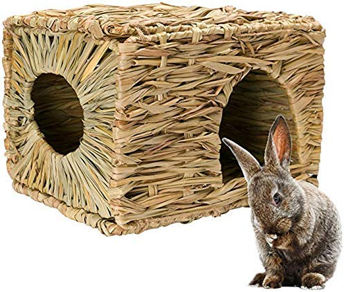 MODEMODE Natural Seagrass Mat Bed Hideaway Toy, Hand Woven for Rabbit Guinea Pig Chinchilla Ferret (Rabbit House Hiding)