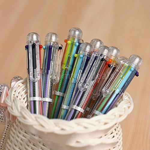 AMAZZANG-10x New Creative 6 in 1 Multi-color Flexible Ballpoint Study Stationery Pen F8N3