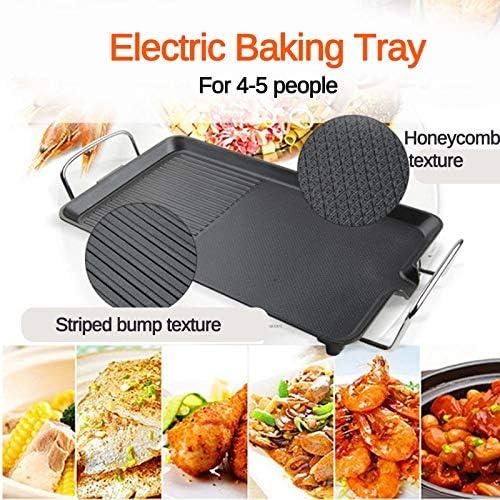 WXJHA Barbecue électrique sans fumée Viande grillée Pan BBQ Grill intérieur antiadhésifs Barbecue Plaque Outils pour Barbecue Teppanyaki Viande grillée Pan