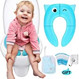 Portable Travel Potty Seat, Upgrade Folding Large Non Slip Silicone Pads Travel Reusable Toilet Potty Training Seat Covers Liners for Babies, Toddlers and Kids - Carry Bag & Hook Included (Blue)