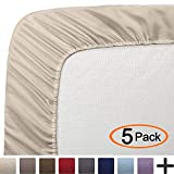 Bare Home 5 Twin XL Fitted Premium Ultra-Soft Bed Sheets (5-Pack) - Hypoallergenic, Twin Extra Long, 15'' Deep Pocket, 39'' x 80'' (Twin XL, Sand)