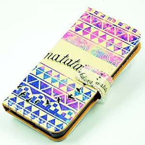 Unique Aztec Tribl Pattern Slim Wallet Card Flip Stand Leather Pouch Case Cover For iphone 5 5s