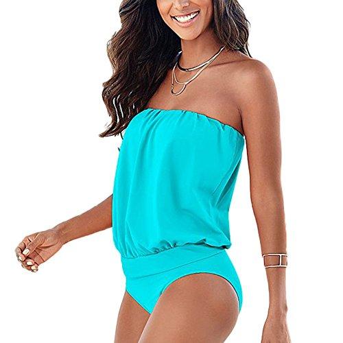 DELEY Mujeres Una Pieza Elegante Bandeau Bikini Traje De Baño Swimwear Beachwear Swimsuit Azul Claro