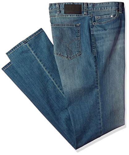 Calvin Klein Men's Big and Tall Straight Leg Denim Jean, Silver Bullet Dye, 42x32 - Denim Dyes