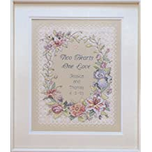 "Two Hearts Wedding Record Stamped Cross Stitch Kit-11""X14"""