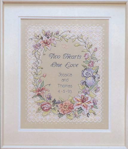 Sampler Heart Wedding - Two Hearts Wedding Record Stamped Cross Stitch Kit-11x14