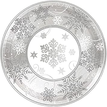 Sparkling Snowflake Round Metallic Dinner Paper Plates Christmas Party Disposable Tableware (8 Pieces)  sc 1 st  Amazon.com & Amazon.com: Sparkling Snowflake Round Metallic Dinner Paper Plates ...
