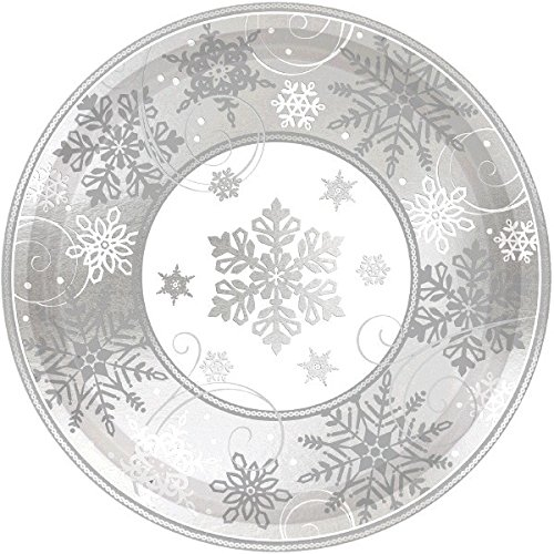 (amscan Sparkling Snowflake Round Metallic Dinner Paper Plates Christmas Party Disposable)