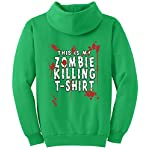TshirtsXL Big Men's Zombie Killing Graphic Pull Over Hoodie, 4X, Clover Green
