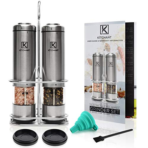 Electric Salt and Pepper Grinder Set (Pack of 2 Mills) by KITCHANT | Battery Operated | Stainless Steel Stand | Automatic One Hand Operation | LED Lights | Ceramic Grinders with Adjustable Coarseness