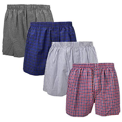4-Pack Men's Boxer Underwear 100% Cotton Premium Quality (M 32-34, 4-Pack Group 1)
