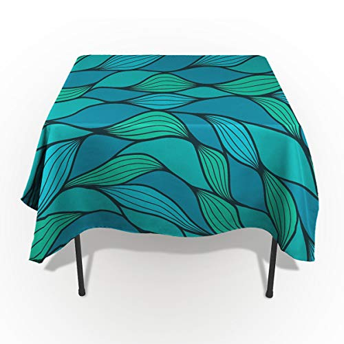 - Teal Tablecloths for Rectangle 60 x 84-inch Table Cover, Cotton Linen Fabric Table Cloth for Dining Room Kitchen, Abstract Wave Design Ocean Themed Marine Life Pattern Print,