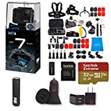 GoPro Hero 7 Black Action Camera + 47 Piece Accessory Kit + 32gb Extreme Micro SD + Card Reader + PowerBank + Dual USB Wall and Car Adapter EZEE Bundle