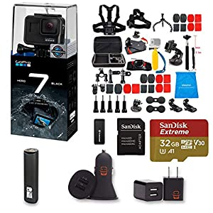 GoPro Hero 7 Black Action Camera Bundle + Lifelimit 47 Piece Accessory Kit + Sandisk 32gb Extreme Micro SD + Transcend Card Reader + EZEE PowerBank + EZEE Dual USB Wall and Car Adapter (53 Items)