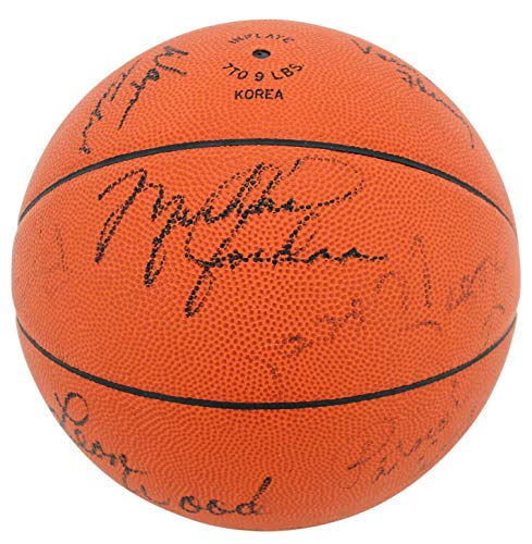 1984 Olympics (17) Jordan, Ewing, Mullen, Knight Signed Basketball #AE07406 - PSA/DNA Certified - Autographed Olympic Miscellaneous