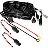 Primelux 12ft Relay Wiring Harness for LED Light Bars - 12V 40A Relay & 3-Pin On/Off Rocker Switch & Waterproof Fuse Holder & Blade Fuse & Male/Female Deutsch DT Connector (2x180W(2 leads / 2x16 AWG))