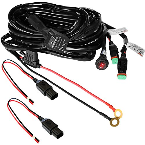 Primelux Universal 12ft Relay Wiring Harness for LED Light Bars Driving Lights Fog Lights Work Lights - 2 Leads(2x15A/16AWG) ()
