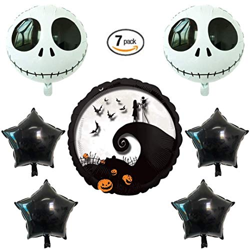 Nightmare Before Christmas 7 Pack Balloon Set | Large 28 | 2 Round 18 Balloons | 4 18 Stars | Get All Three Styles | 7 Total