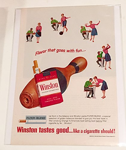 1965 Winston Flavor That Goes With Fun Bowling Cigarette Magazine Print Advertisement