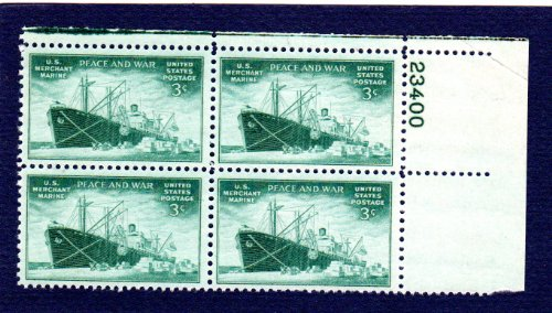 Postage Stamps United States. Plate Block #23400 of Four 3 Cents Blue Green, Liberty Ship Unloading Cargo, Merchant Marine Issue Stamps, Dated 1946, Scott #939. -