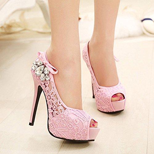 La Vogue Ladies Lace Decoration High Heel Shoes Peep Toe Platform Court Shoes Pink mciokvjKjI