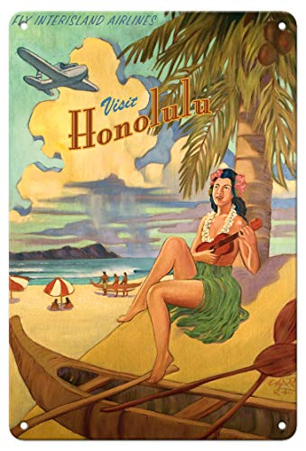 (Pacifica Island Art 8in x 12in Vintage Tin Sign - Visit Honolulu - Hawaii Hula Girl Playing Ukulele - Fly Interisland Airlines by Rick Sharp)