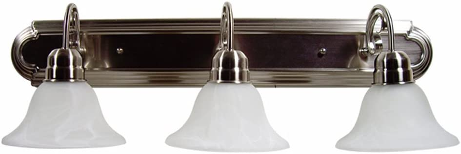 Y D cor L23-SN Modern, Transitional, Traditional 3 Light Bathroom Vanity Fixture Satin Nickel with White Glass By , Satin Nickel, Silver