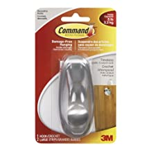 Command Timeless Brushed Nickel Large Hook, 5 lb Capacity, 1 Hook 2 Large Strips, (17063BN-C)