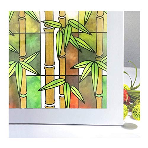 Soqool Privacy Window Film No Adhesive Decorative Window Sticker, Static Cling Vinyl Film Bamboo Design Window Covering, Remove/Reusable 17.7