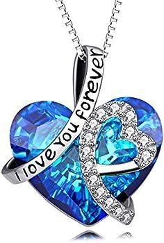 AOBOCO Blue Swarovski Crystals I Love You Forever Heart Pendant Necklace