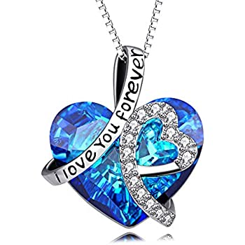 5f9d808d3c0e3f Heart Necklace 925 Sterling Silver I Love You Forever Pendant Necklace with  Blue Swarovski Crystals Jewelry for Women Anniversary Birthday Gifts for  Girls ...