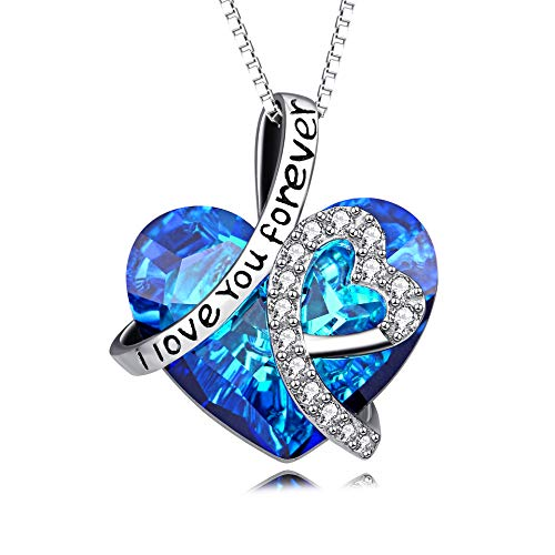 Heart Necklace 925 Sterling Silver I Love You Forever Pendant Necklace with Blue Swarovski Crystals Jewelry for Women Anniversary Birthday Gifts for Girls Girlfriend Wife Daughter - Silver Ring Jewellery Double Old