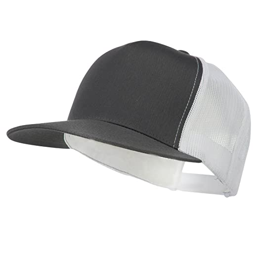 99524fbf263 Sonette Yupoong Classic 5 Panel Two Tone Mesh Trucker Snapback Cap -  Charcoal White OSFM at Amazon Men s Clothing store