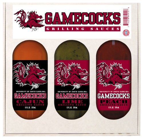 South Carolina Gamecocks NCAA Grilling Gift Set (12oz Cajun, 12oz Lime, 12oz Peach)