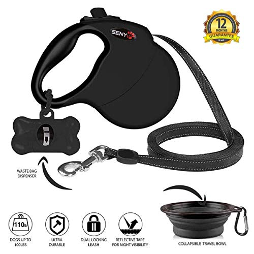 senye Nylon Retractable Dog Leash 17 Foot for Small Medium Large Size Breed Dogs, Ribbon One-Handed Brake Heavy Duty Dog Leashes Tangle-Free, Pause, Lock, Bowl & Poop Bag