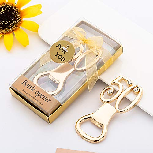 (Yuokwer 12 pcs 50th Wedding Party Favor Bottle Opener Party Favor Wedding Souvenir Gift for Guests Gold Wedding Anniversary 50th Birthday Party Gift Decoration (Gold 50th, 12))