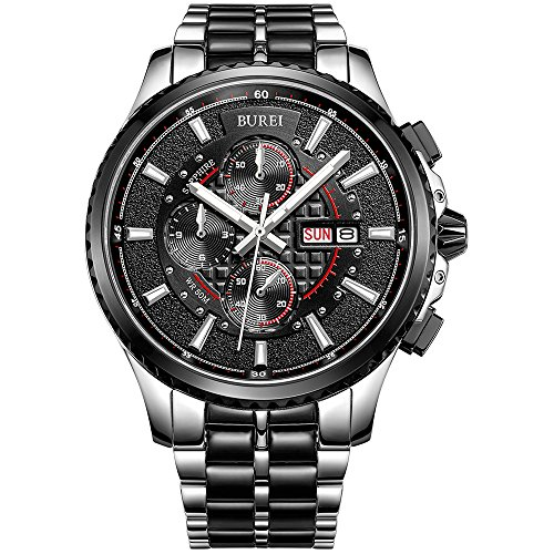 BUREI Mens Military Quartz Watches with Analog Dial Stainless Steel Bracelets Stainless Steel (Military Quartz Bracelet)