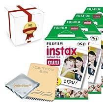 Fujifilm INSTAX Mini Instant Film 10 Pack (100 Films) for all fujifilm mini instant cameras - Photo Album - Microfiber Cloth - ~ Gift Packaging ~