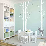 Owl Hills 3 White Birch Trees with Fawn, Bunny, Squirrel and Birds Wall Stickers, Grey