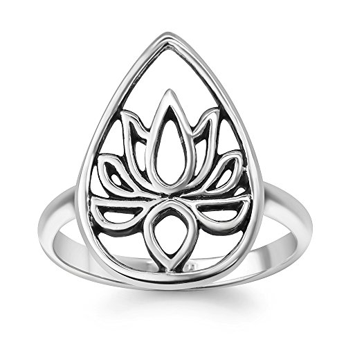 925 Oxidized Sterling Silver Filigree Blossom Lotus Flower Band Ring Jewelry for Women