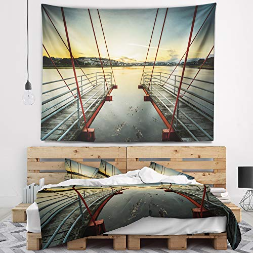 Designart TAP9494-80-68 'Wooden Piers for Boats in Spain' Seashore Photo Tapestry Blanket Décor Wall Art for Home and Office, x Large: 80 in. x 68 in, Created on Lightweight Polyester Fabric by Designart