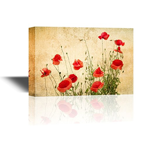 - wall26 - Canvas Wall Art - Red Poppy Flowers on Vintage Abstract Background - Gallery Wrap Modern Home Decor | Ready to Hang - 16x24 inches