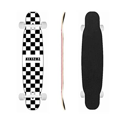 Skateboards Longboard Cruiser Skateboard Deck Complete Black and White Grid 9.8-Inch X 46.0-Inch : Sports & Outdoors