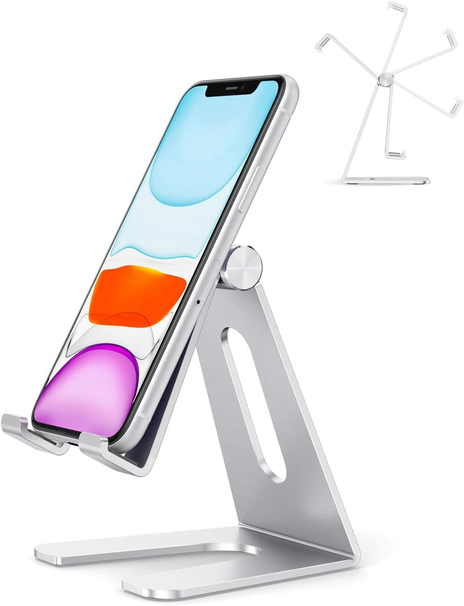 """Adjustable Cell Phone Stand, Aenfor Desktop Phone Holder Cradle Dock Compatible with iPhone 11 Pro XS XS Max Xr X SE 8 7 6, iPad Mini,Nintendo Switch,Tablets(7-10"""") and All Cell Phones,Silver"""