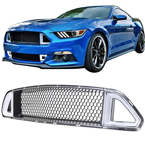 Grille Fits 2015-2017 Ford Mustang | Ikon Style Black Front Bumper Grill Hood Mesh by IKON MOTORSPORTS | 2016 (Mustang Grill Mesh)