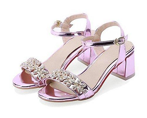 color 43 alti sandali cavi grandi 43 di XIE PINK fiori dimensioni Aprire gun piantato tacchi q7xanSP4